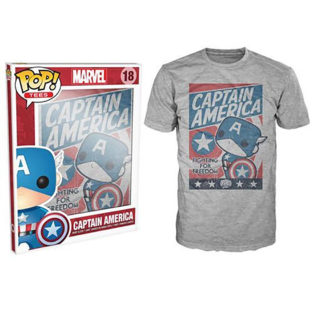 Novelty - Funko - T-Shirt - POP - Size Large -  Captain America - Fight For Justice