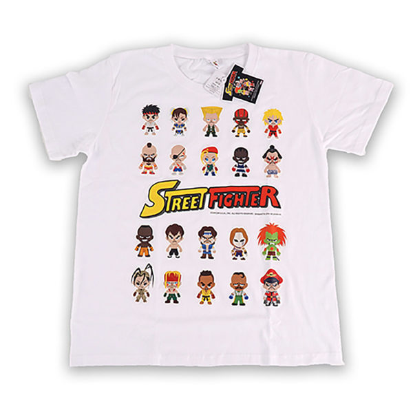 Novelty - Street Fighter - T-Shirt - Size Medium - White Style 2 - Rows