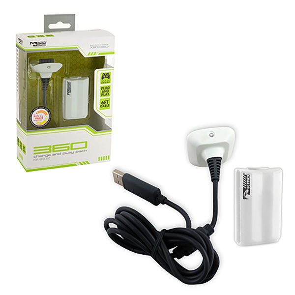 Xbox 360 - Charger - Charge and Play Pack - White (KMD)