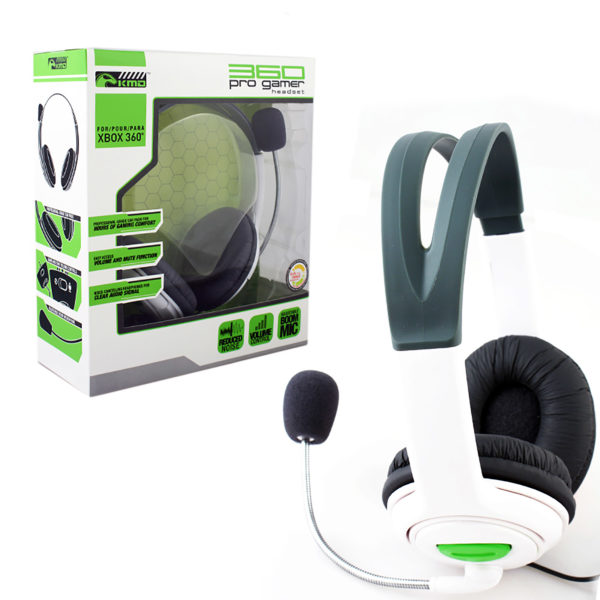 Xbox 360 - Headset - Pro Gamer Headset with Mic - White -  Large (KMD)