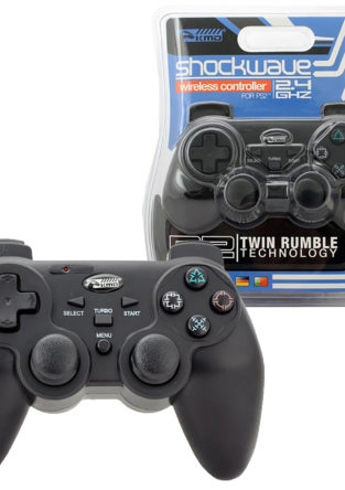 PS2 - Controller - Wireless - Shock-Wave - 2.4GHZ - Black (KMD)