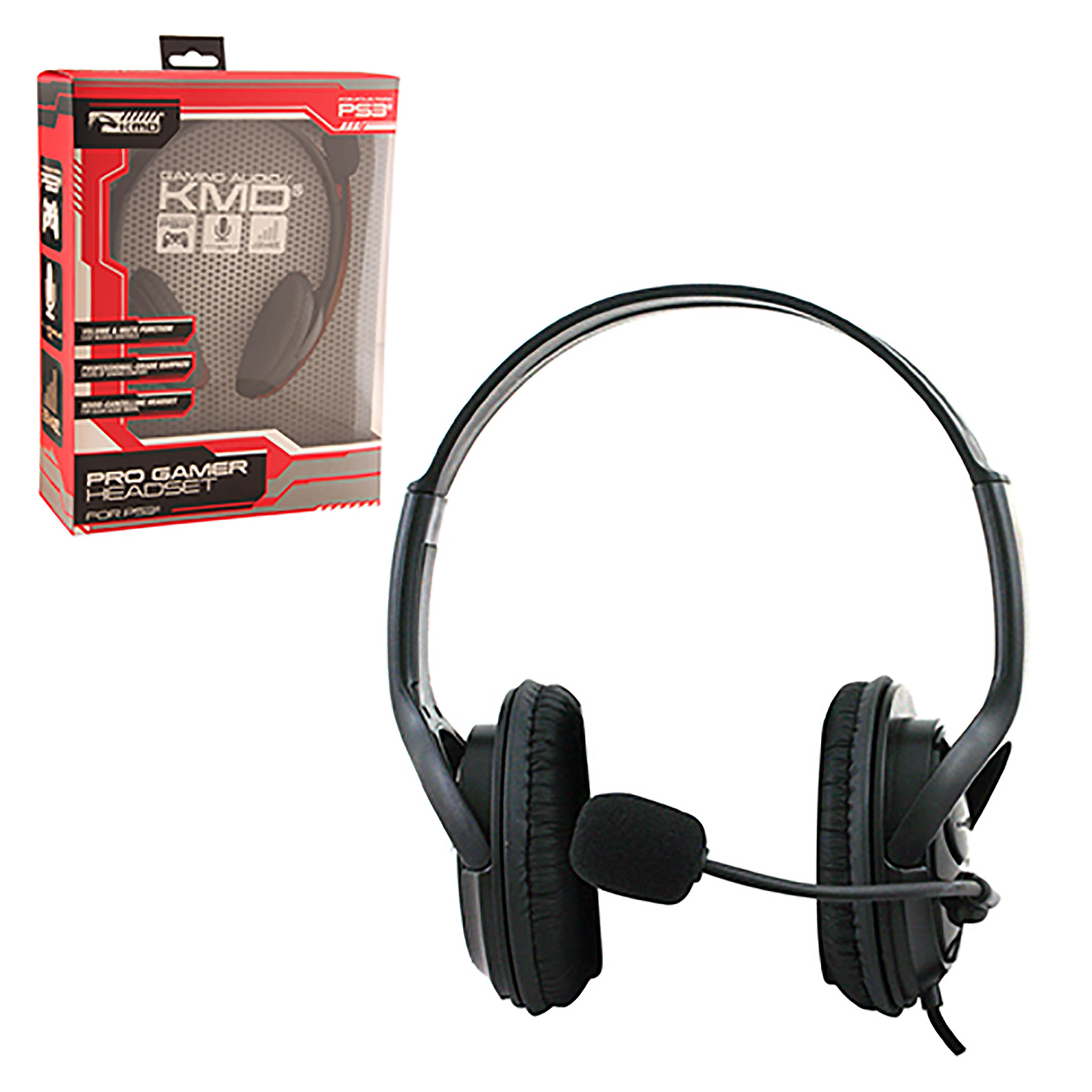 PS3/PS4 – Headset – Live Pro Gamer Headset with Mic – Black – LARGE (KMD)