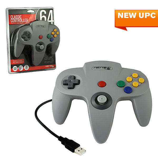 PC - Controller - Wired - N64 Style - USB Controller for PC & Mac - Grey (Retrolink)