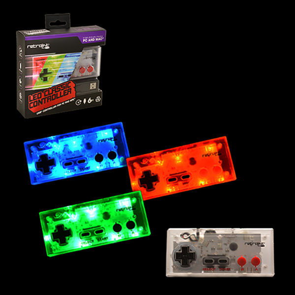 PC - Controller - Wired - NES Style - USB Controller for PC & MAC - Blue/Red/Green LED - On-Off Switch + Dimmer (Retrolink)