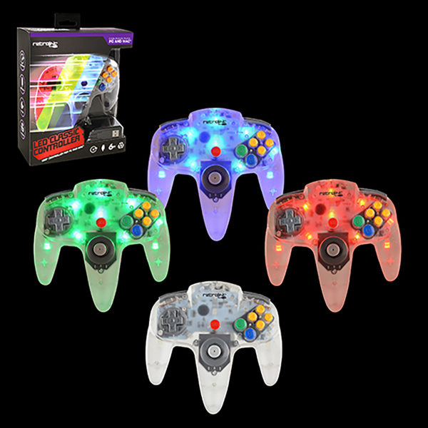 PC - Controller - Wired - N64 Style - USB Controller for PC & MAC - Blue/Red/Green LED - On-Off Switch (Retrolink)