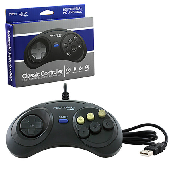 PC - Controller - Wired - Genesis Style - USB Controller - 6 Button (Retrolink)