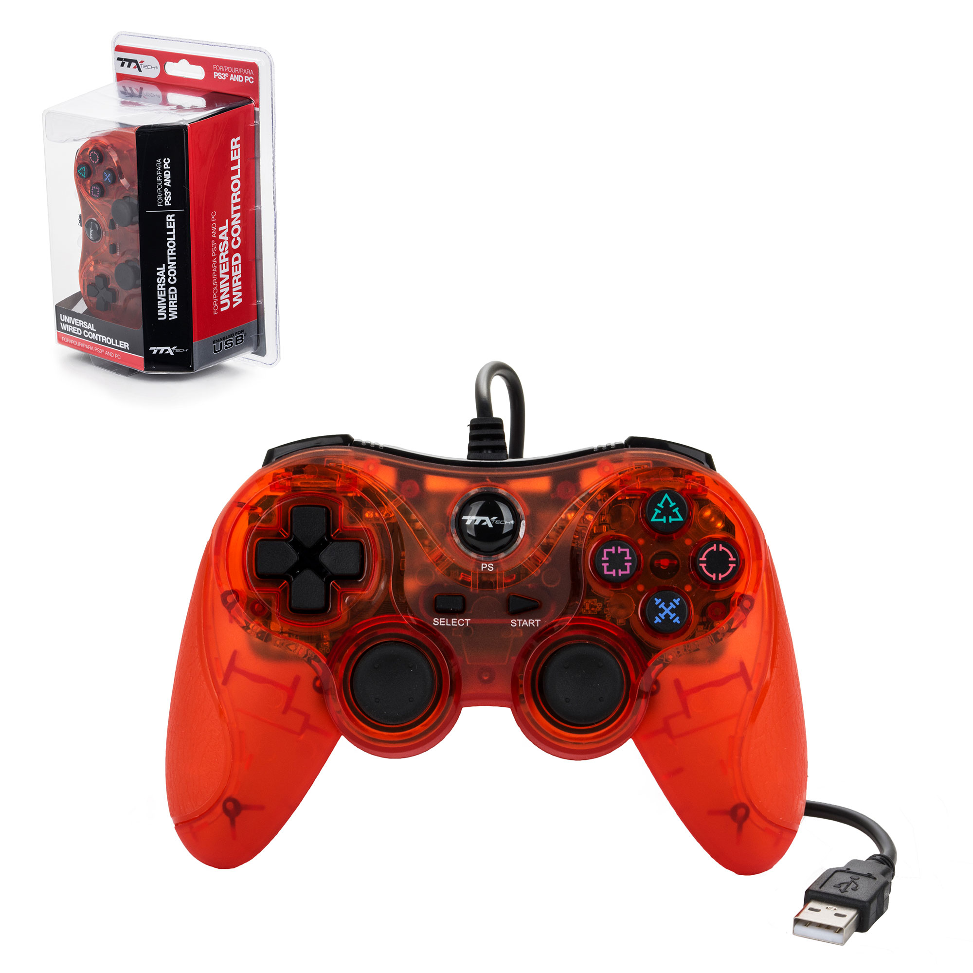 PS3 – Controller – Wired – USB Controller – PC Compatible – Clear ...
