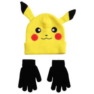 Novelty - Hats - Pokemon - Youth Pikachu Beanie With Black Mittens